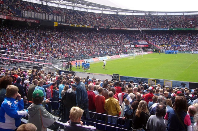 Filip giving a football freestyle show in stadium De Kuip of Feyenoord Rotterdam
